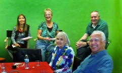 Above, from left, Lisa Aoki, Betsy Martin, June Davis, Charlies Redner, Angelo Allen (in front). Photo by Jim Rohrs.