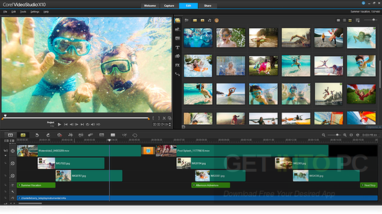 Corel-VideoStudio-Ultimate-X10-Timeline