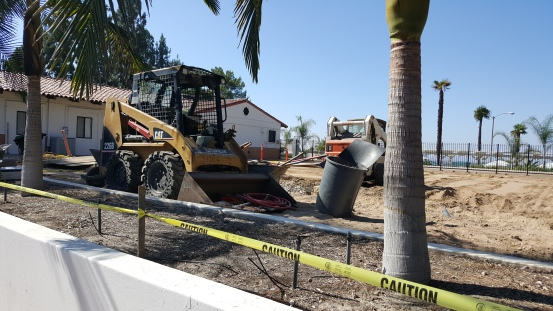 "Construction is underway on the ""pocket park"" adjacent to the Video Lab. Photo: Lucy Parker"