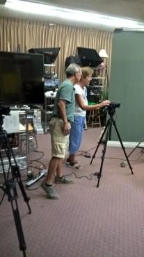 Paul Chiang assists camera operator Betsy Martin. Photo: Alexandra Scott-Kelly